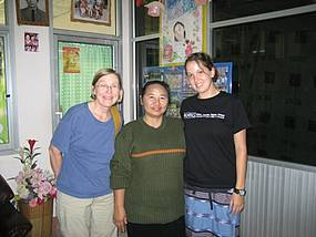 Mary Purkey (a director of the Mae Sot Project), Paw Ray, and Kristyne