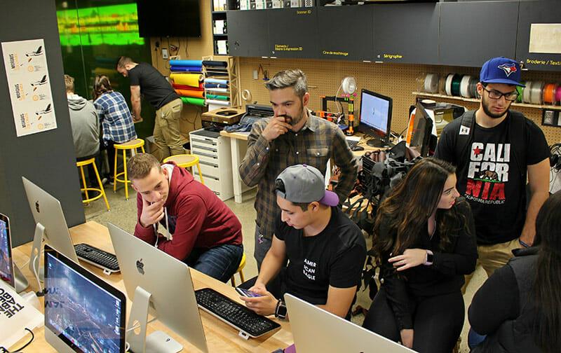 Entrepreneurship Lab students creating their prototypes at a FabLab