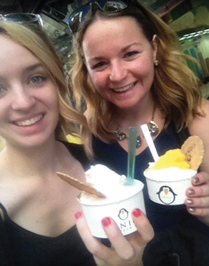Juliet Goulet eating ice cream with a friend