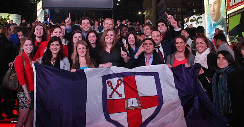Members of the NMUN team representing Bishop's in Time Square