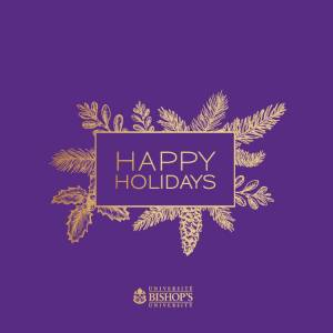 Happy Holidays card purple and gold