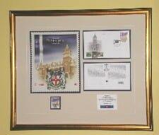 Framed stamp & documents