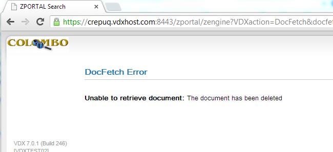COLOMBO error message