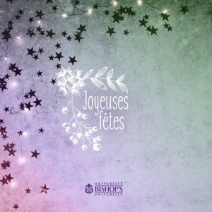 French Season's greetings card showing sparkly stars
