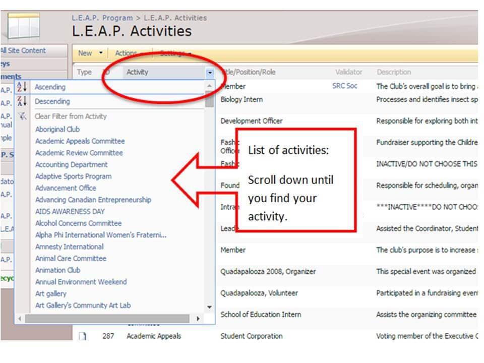 Add your activities
