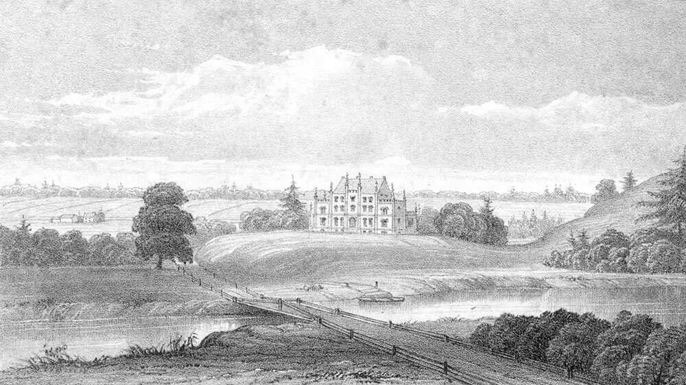 Engraving of the first building at Bishop's