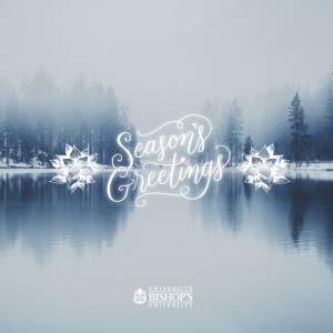 Season's greetings card showing a peaceful lake