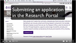 Video tutorial on submitting an application via the Research Portal